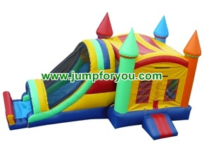 Inflatable rainbow castle combo 27x13x14 for rent
