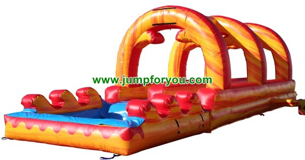 Fire Marble Inflatable Double Slip and Slide For Sale