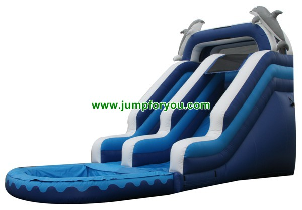 27FT Dolphins Blue Inflatable Water Slide For Sale