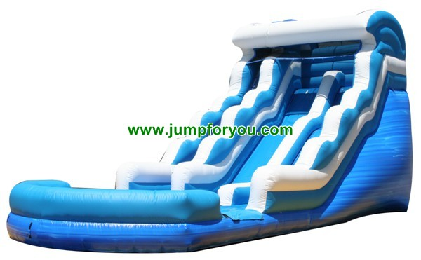 18 Ft Blue Wave Double Drop Dual Lane Water Slide