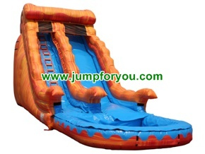 WS257 Orange Marble Giant Inflatable Water Slide
