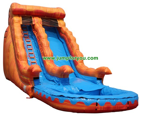 18FT Orange Marble Wave Giant Inflatable Water Slide For Sale