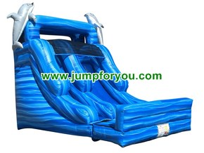 WS954 Dolphins Inflatable Water Slide