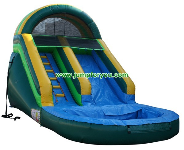 Large Inflatable Green Water Slide For Sale