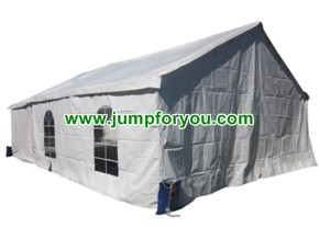 20x30 White Wedding Tent with Vinyl Back walls and Clear Windows