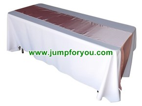 6ft White Table Cover with Pink Runner