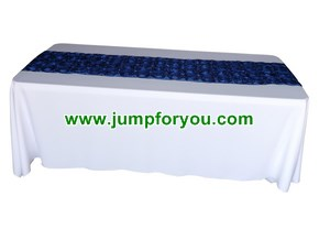 6ft White Table Cover with Rosette Royal Blue Runner