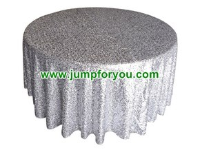 Round Silver Sequin Tablecloth