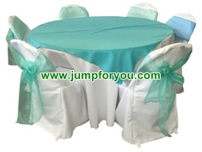 Round Table & Round Back Chair Covers (White/Teal)